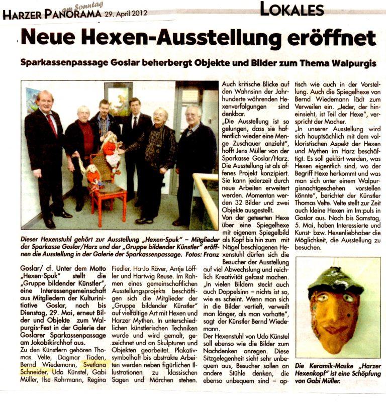 Zeitungsartikel aus Harzer Panorama am Sonntag vom 29.04.2012