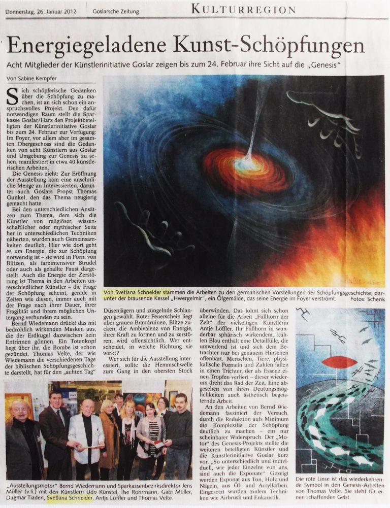 """Zeitungsartikel: """"Energiegeladene Kunst-Schöpfungen"""", Artikel aus GZ vom 26.01.2012."""