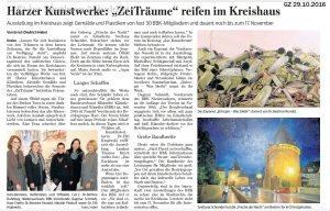 """Ausstellung """"ZeiTräume"""", Bericht aus der Goslarschen Zeitung"""