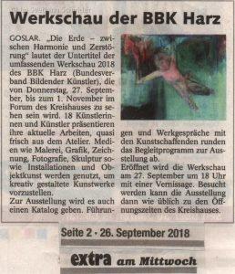 """Zeitungsanzeige """"Werkschau der BBK Harz"""", 26.09.2018"""
