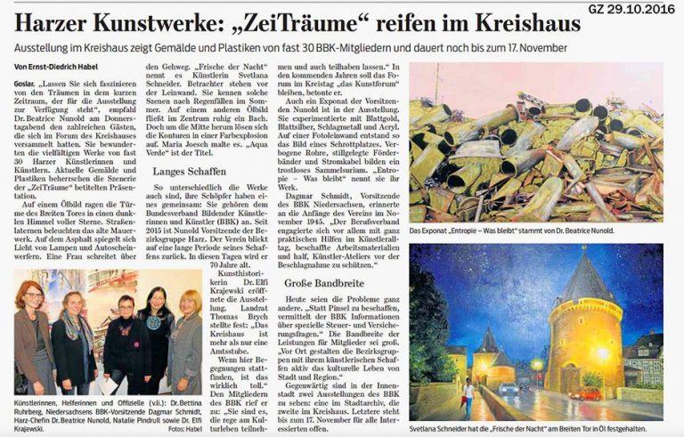 """Zeitungsartikel: Harzer Kunstwerke: """"ZeitTräume"""" reifen im Kreishaus"""