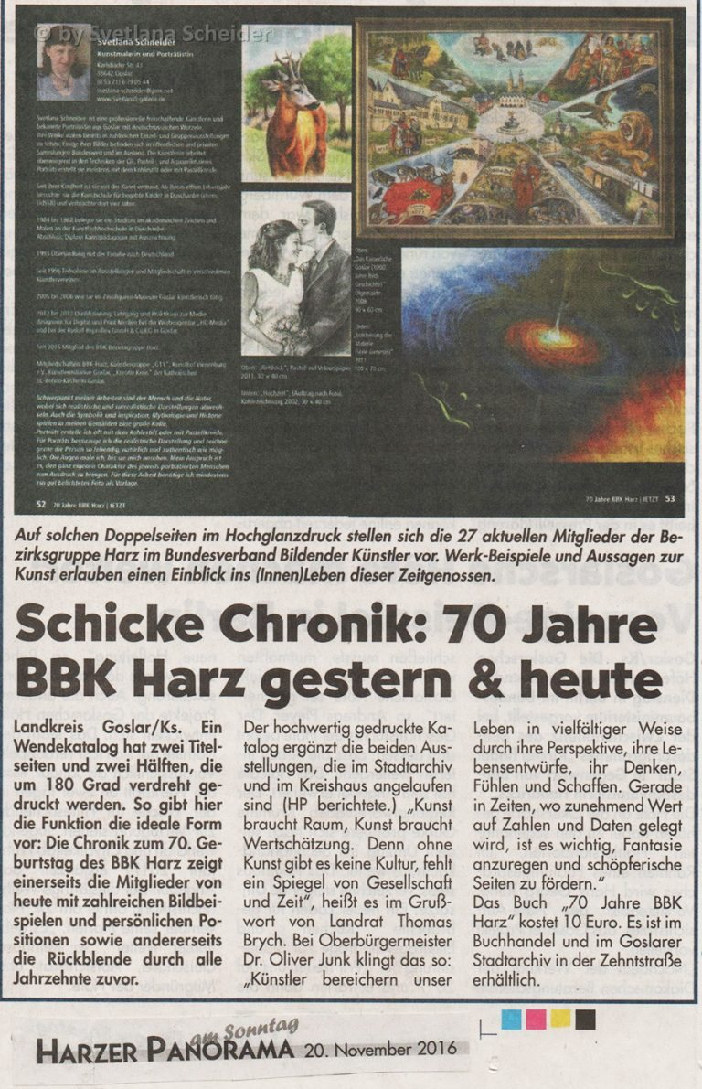 """Zeitungsartikel: """" 70 Jahre BBKHarz"""", Harzer Panorama am Sontag, Anzeige von 20.11.2016"""