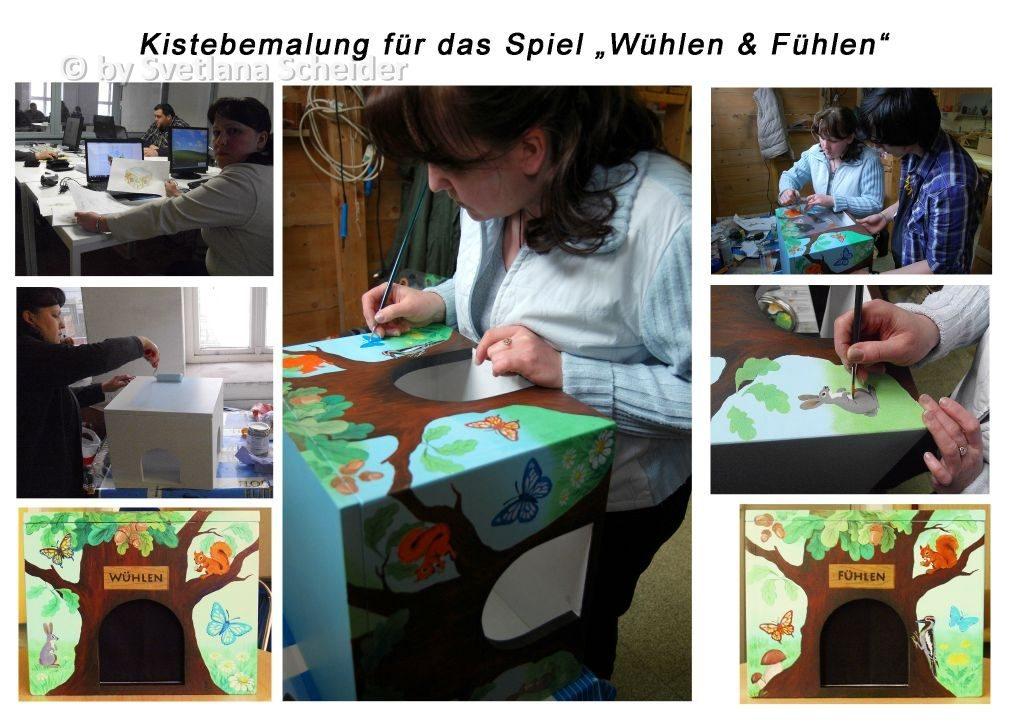 """Bemalen der Kiste für das Spiel """"Wühlen & Fühlen"""""""