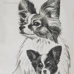 """Nr.05 """"Hundefamilie"""", 30 x 40 cm, Kohlestift auf Malpapier, 2008"""