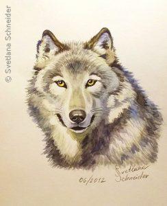 """Nr.107 """"Wolf"""", Aquarell"""