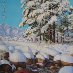 "Nr.131 ""Bergfluss im Winter"", Ölgemälde"