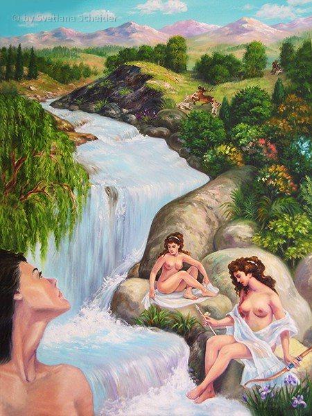 """Nr.142 """"Aktaeon & Artemis"""" Ölgemälde."""