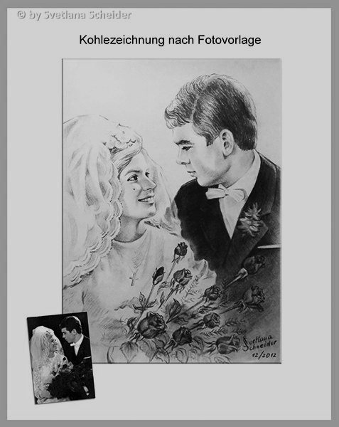 """Nr.153 """"Hochzeitbild"""", Kohlestift auf Malpapier, 30 x 40 cm, 2012. (Porträt mit Originalfoto zum Vergleich)"""
