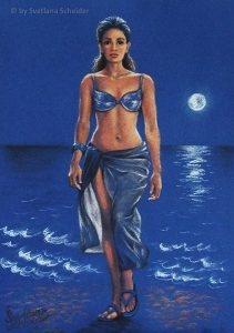 """Nr.156 """"Strandspaziergang Im Mondlicht"""", Pastell Auf Farbkarton, Größe: 24 x 34 cm, Entstehungsjahr: 2012"""