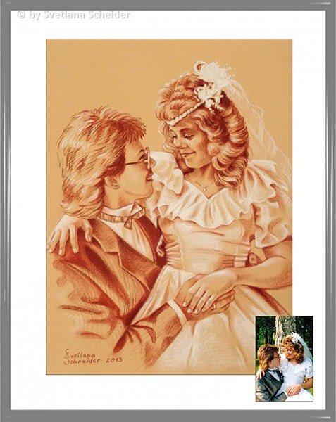 """Nr.162 """"Hochzeitsbild"""" und Footovorlage zum Vergleich"""