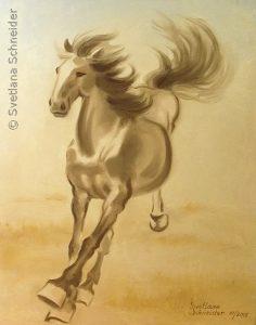 "Nr.173 ""Galoppierendes Pferd"" (Etüde nach Xu Beihong), Ölgemälde"