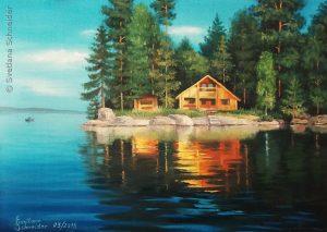 "Nr.176 ""Haus am See"", Ölgemälde, Größe: 46 x 33 cm, Entstehungsjahr: 2015"