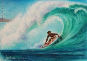 """Nr.177 """"Die Welle"""", Pastell Auf Farbkarton"""