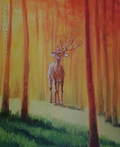 """Nr.186 """"Hirsch"""" (Fragment aus dem Gemälde """"Rotes Wald"""")"""