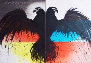 """Nr.200 """"Nur Zusammen sind Wir Stark"""", Acryl Auf Leinwand, Größe: 100 x 70 cm, Entstehungsjahr: 2016"""