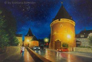 """""""Frische Der Nacht"""" (Goslar, Breites Tor) Ölgemälde, 50 x 60 cm, 2016"""