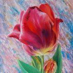 """Nr. 206 """"Blume Im Zeitfluss"""", Öl und Acryl auf Leinwand,"""