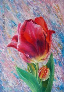 """Nr. 206 """"Blume des Lebens im Fluss der Zeit"""", Öl und Acryl auf Leinwand,"""