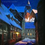 Nr. 229 Goslar Im Adventsstimmung (Peterstraße, Blick auf die Frankenberger Kirche), Ölgemälde, 50 X 70 cm, 2017