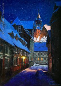 """Nr.229 """"Goslar Im Adventsstimmung"""", Ölgemälde"""