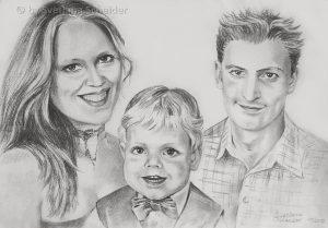 """Nr. 32 """"Familienporträt"""", Kohlestift auf Malpapier, 30 x 40 cm, 2012"""