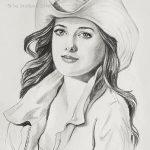 """Nr.33 """" Junge Frau mit langen Harren und Hut"""""""