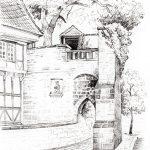 "Nr.54 ""Am Rosentor, Goslar"", 20 x 30 cm, Bleistiftzeichnung, 2009"