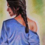 "Nr.78 ""Lady In Blau"", Pastellkreide auf Velourpapier"