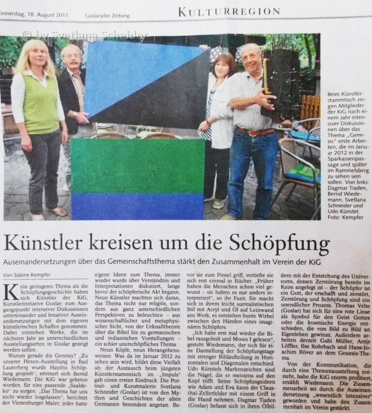 Künstler kreisen um die Schöpfung, (Zeitungsartikel in der Goslarsche Zeitung - 18.08.11)