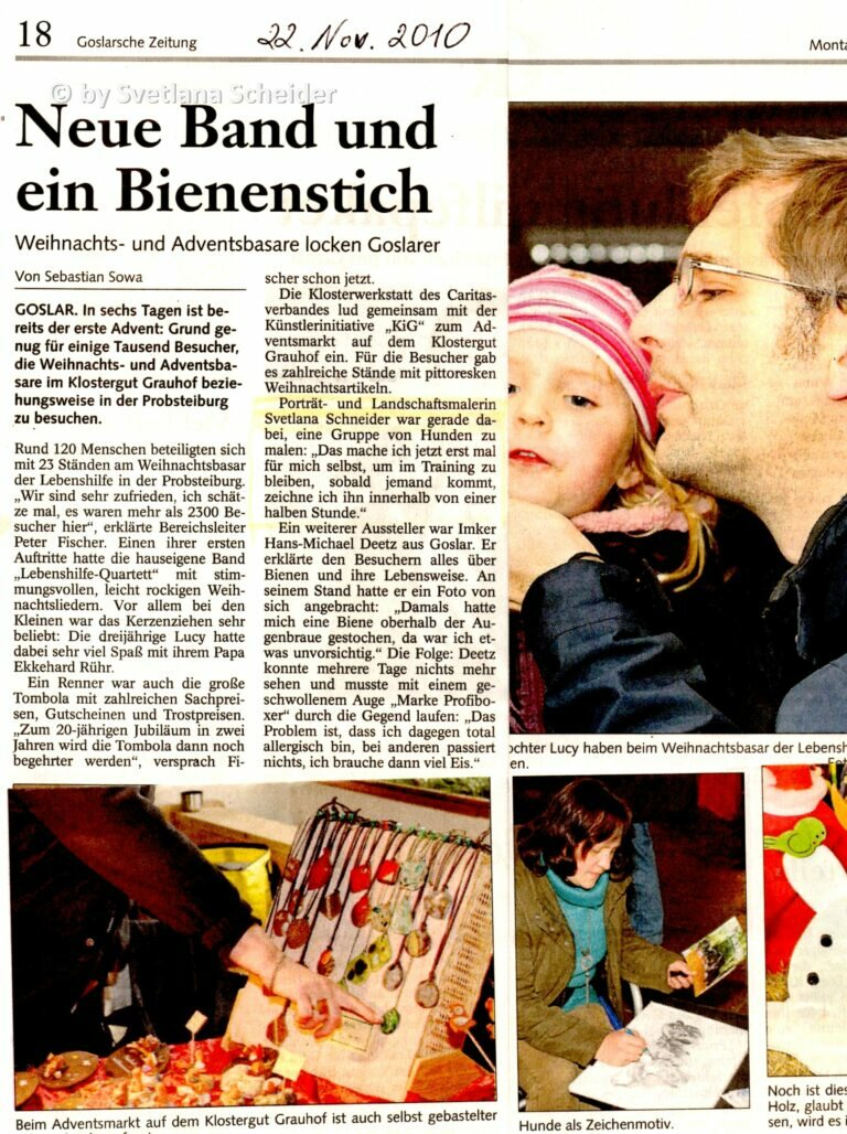 Zeitungsartikel zur Kunsthandwerker Markt im Advent 2010