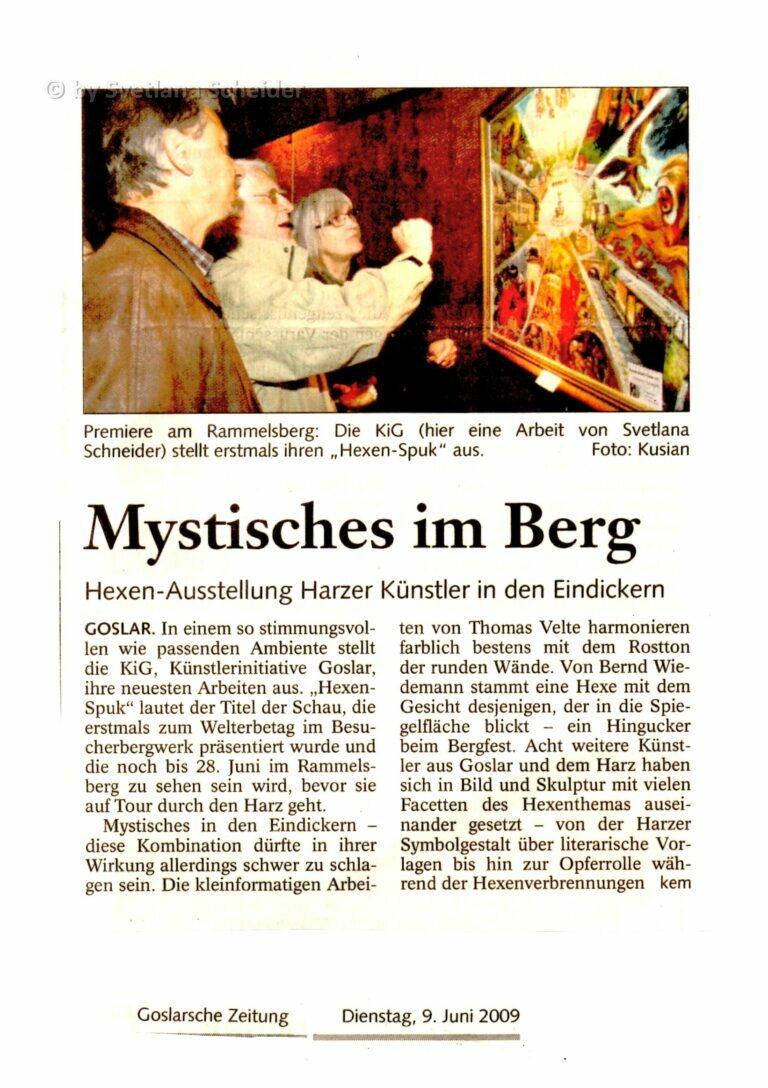 """""""Mystisches im Berg"""", Hexen-Ausstellung Harzer Künstler in den Eindickern (Goslarsche Zeitung - 09.06.2009)"""