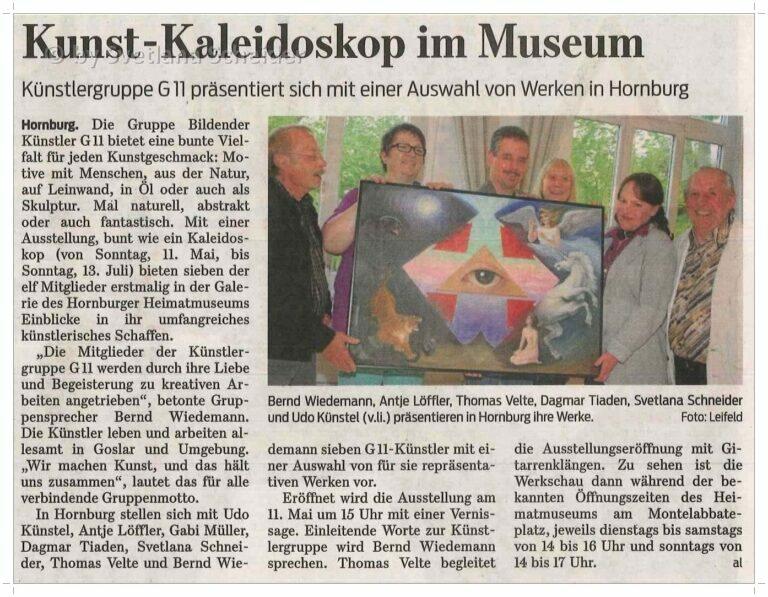 Künstlergruppe G11 stellt in der Hornburger Museums-Galerie aus.