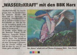 """Zeitungsartikel: Ausstellung """"WASSERsKRAFT"""" mit den BBK Harz"""""""