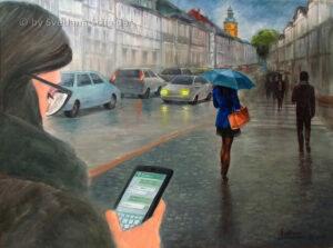 """""""Postdigital rasender Stillstand"""", Ölgemälde, 80 x 60 cm, Jahr 2018"""