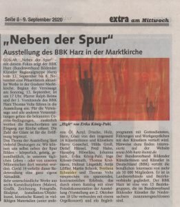 """Zeitungsartikel: Ausstellung """"Neben der Spur"""" BBK Harz in der Marktkirche"""
