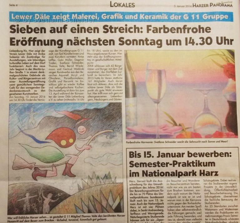 """""""Sieben auf einen Streich"""" Ausstellung der Künstlergruppe G11 im Liebenburg (Artikel im Harzer Panorama am Sontag – 03.01.2016)"""