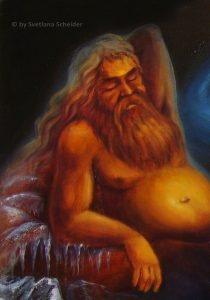 """Frostriese Ymir, der brausende Lehm, Fragment des Bildes """"Altgermanische Götter - der Ursprung"""" (Serie Genesis)"""