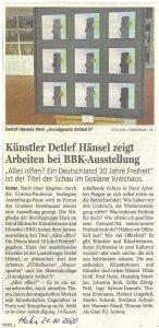 """Bericht aus der Zeitung """"Harz Kurier"""" vom 21.10.2020"""