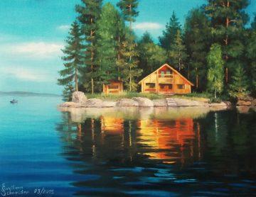 Nr 176 Haus Am See, Ölgemälde, 46 x 33 cm, 2015